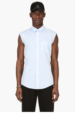 MAISON MARTIN MARGIELA Pale Blue Frayed Sleeveless Shirt for men