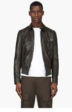DSQUARED2 Dark Olive Leather Jacket for men