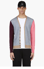 DSQUARED2 Heathered Grey Colorblocked Cardigan for men