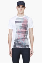 KRISVANASSCHE White Ocean Graphic T-Shirt for men