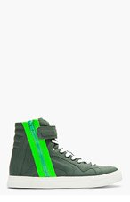 PIERRE HARDY Khaki Green Side-Zipper High Tops for men