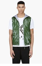 DUVETICA Green Hooded Down Aanceo Vest for men