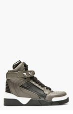 GIVENCHY Grey & Black Star Studded High Top Sneakers for men