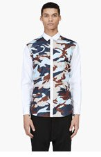DSQUARED2 White Camo Print Panel Shirt for men