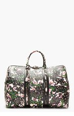 GIVENCHY Black leather floral padlocked LC duffle for men