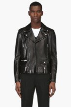 SAINT LAURENT Black Leather Classic Biker Jacket for men