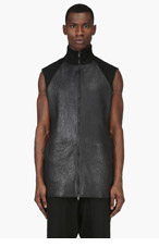 MAISON MARTIN MARGIELA Black Leather Panel Vest for men