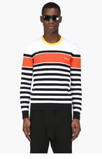 DSQUARED2 Black & White Striped Knit Sweater for men