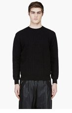 KRISVANASSCHE Black Crewneck Crocodile Pattern Sweater for men