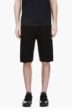 KRISVANASSCHE Black Croc Pattern Knit Shorts for men