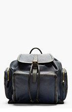 PIERRE HARDY Navy Rectangular Leather Backpack for men