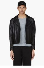 ACNE STUDIOS Black Leather Biker Jacket for men