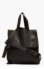 MARSÈLL Black grained leather modified tote bag for men