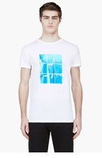 LANVIN White Windowpane Graphic T-Shirt for men