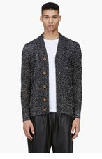 DIESEL BLACK GOLD Black & White Open Knit Cardigan for men