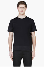 KRISVANASSCHE Black Silk Cuff T-Shirt for men
