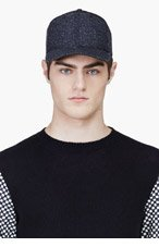 RAG & BONE Navy Herringbone Baseball Cap for men