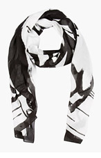 MCQ ALEXANDER MCQUEEN Black & White Swallow Scarf for men