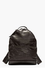 MARSÈLL Black grained leather minimalist backpack for men