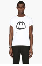 SAINT LAURENT White Lip Graphic T-shirt for men