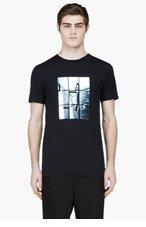 LANVIN Black Windowpane Graphic T-Shirt for men
