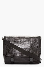 MCQ ALEXANDER MCQUEEN Black Croc-Embossed Accent Messenger Bag for men