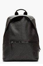 MCQ ALEXANDER MCQUEEN Black Grained Leather Backpack for men