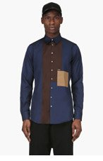DSQUARED2 Navy & Brown Colorblocked Shirt for men