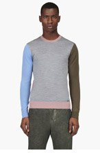 DSQUARED2 Heathered Grey Colorblocked Sweater for men
