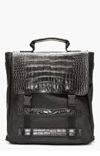 MCQ ALEXANDER MCQUEEN Black Croc-Embossed Accent Backpack for men