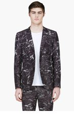 CALVIN KLEIN COLLECTION Black Digital Water Print Blazer for men