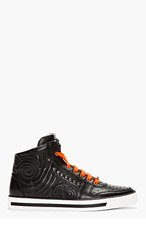 VERSACE Black Leather Hi Top Sneakers for men