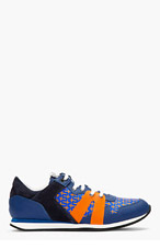 MCQ ALEXANDER MCQUEEN Navy & Orange Crucifix Print Running Shoe for men