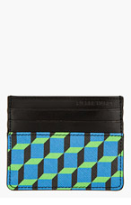 PIERRE HARDY Blue & green leather CUBE print CARD HOLDER for men
