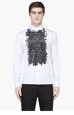 KRISVANASSCHE White Crocodile Skin Print Shirt for men