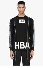 HOOD BY AIR Black Printed Double Zip T-Shirt for men