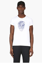 ALEXANDER MCQUEEN White Python & Skull Embroidered T-Shirt for men