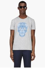ALEXANDER MCQUEEN Heathered Grey Floral Skull T-Shirt for men