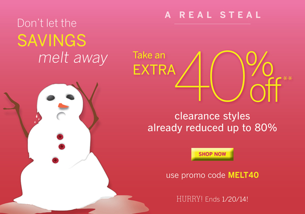 Take an extra 40% off all clearance items with promo code MELT40