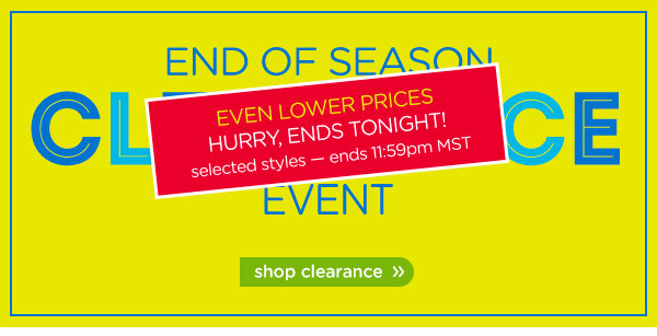 End Of Season Clearance Event - shop clearance