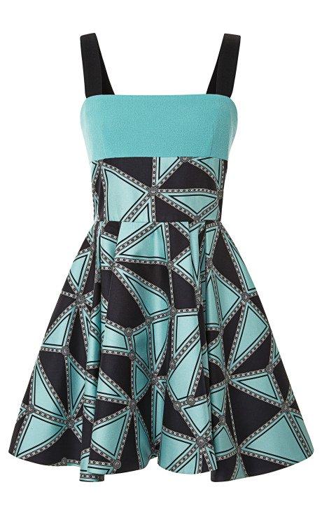 Geometric Silk Twill Cocktail Dress