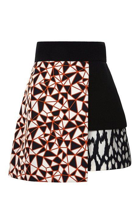 Mixed Print Layered Mini Skirt