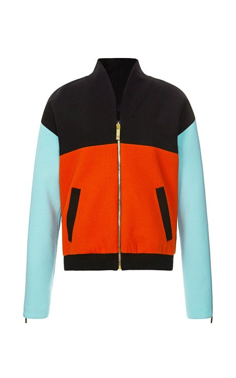 Color-Blocked Wool Crepe Bomber Jacket