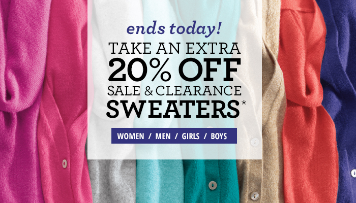 Limited time! Extra 20% off Sale & Clearance Sweaters*