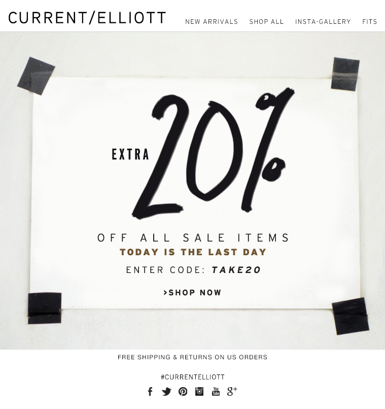 EXTRA 20% OFF ALL SALE ITEMS TODAY IS THE LAST DAY ENTER CODE: TAKE20 >SHOP NOW