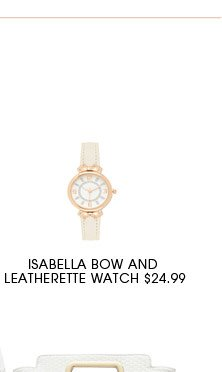 Isabella bow and Leatherette Watch.
