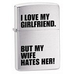 Zippo 24522 Classic I Love My Girlfriend Brushed Chrome Windproof Lighter