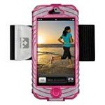 Nathan 4921NSK SonicBoom Arm Band Carrier for iPhone 5, Silver & Berry