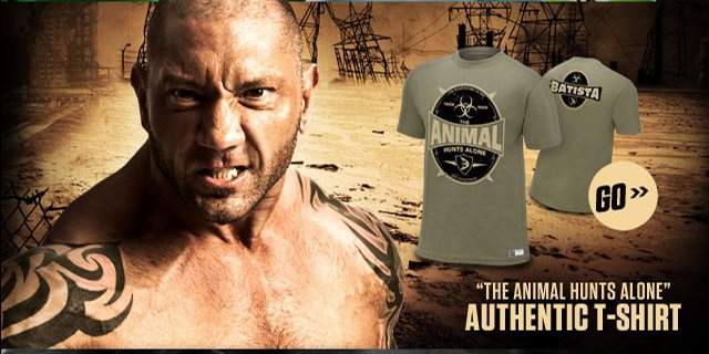 "Batista ""The Animal Hunts Alone"" Authentic T"