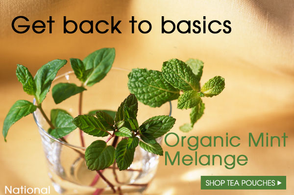 Get back to basics. Organic Mint Melange. Shop Tea Pouches.